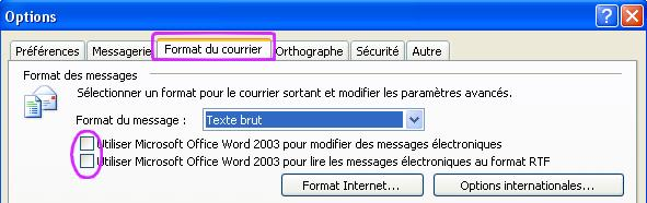 Outlook option decocher word comme editeur de texte