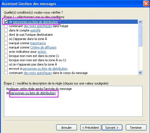 Liste de Distribution pour Outlook