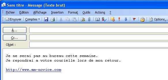 Outlook model de message reponse en format texte brut