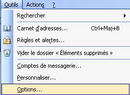 Outlook Outils Options courriel