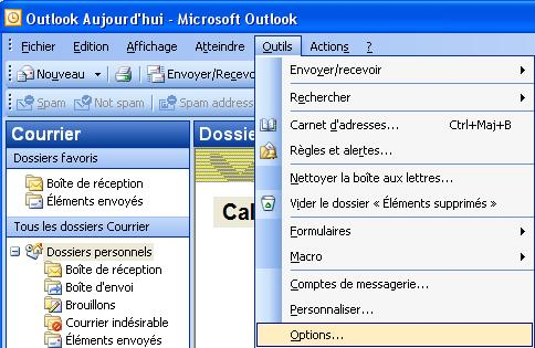 Ouvrir Outlook options outils
