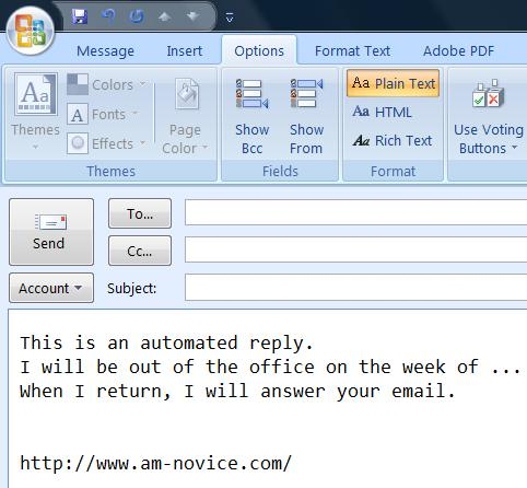 Plain texst out of office reply