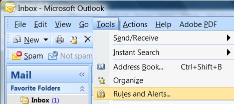 Outlook Rules and Alerts
