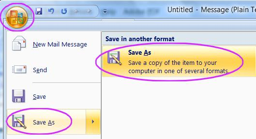 Outlook save as