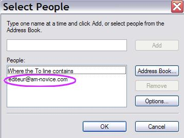 Email address in outlook express