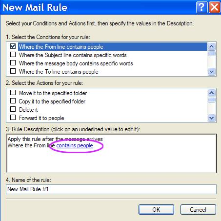 Outlook express contains people rule