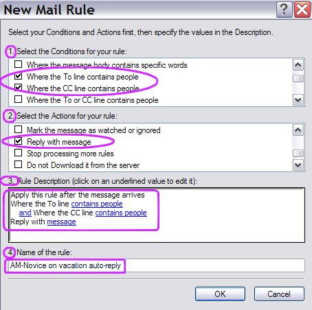 Outlook Express new mail rule