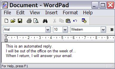 Wordpad reply message