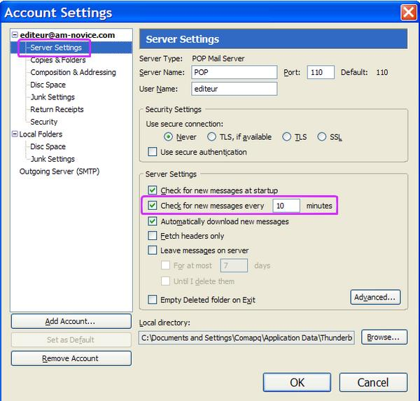 Thunderbird account settings page