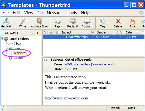 Changing the template message in Mozilla's Thunderbird