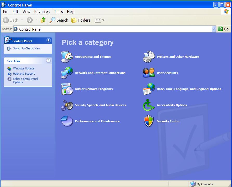Control panel category view